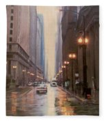 Chicago Rainy Street Fleece Blanket