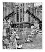 Chicago River Boat Migration In Black And White Fleece Blanket