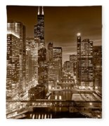 Chicago River City View B And W Fleece Blanket