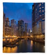 Chicago River Lights Fleece Blanket