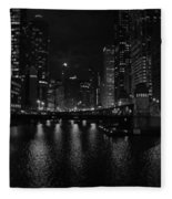 Chicago River Night Skyline Fleece Blanket