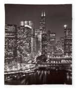 Chicago River Panorama B W Fleece Blanket