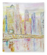 Chicago River Skyline Fleece Blanket
