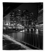 Chicago River View In Black And White  Fleece Blanket