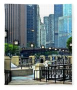 Chicago River Walk Invites You Fleece Blanket