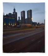 Chicago Skyline And Expressway Fleece Blanket