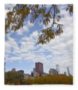 Chicago Skyline And Fall Colors Fleece Blanket