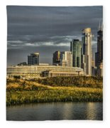 Chicago Skyline And Nature Preserve At Sunrise Fleece Blanket