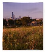 Chicago Skyline And Neighborhood Prairie Fleece Blanket