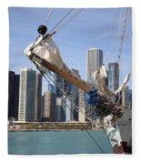 Chicago Skyline And Tall Ship Fleece Blanket