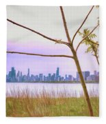 Chicago Skyline - The View From Montrose Point Fleece Blanket