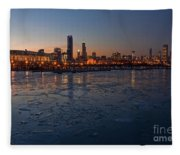 Chicago Skyline At Dusk Fleece Blanket