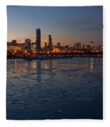 Chicago Skyline At Dusk Fleece Blanket