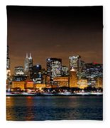 Chicago Skyline At Night Extra Wide Panorama Fleece Blanket