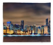Chicago Skyline At Night Panorama Color 1 To 3 Ratio Fleece Blanket