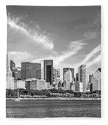 Chicago Skyline Panorama Black And White Fleece Blanket