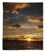 Chicago Skyline Sunset Fleece Blanket