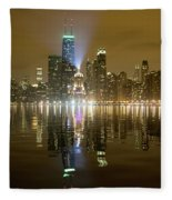 Chicago Skyline With Lindbergh Beacon On Palmolive Building Fleece Blanket