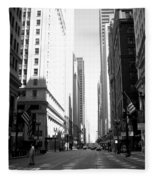 Chicago Street With Flags B-w Fleece Blanket
