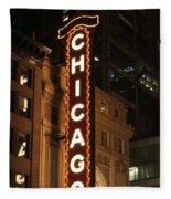 Chicago Theater At Night Fleece Blanket