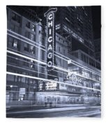 Chicago Theater Marquee B And W Fleece Blanket
