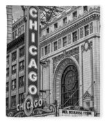 Chicago Theatre Bw Fleece Blanket