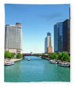 Chicago Tour Boats Parked On The River Fleece Blanket