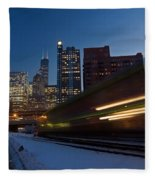 Chicago Train Blur Fleece Blanket