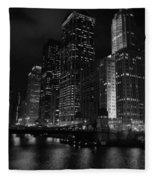 Chicago Wacker Drive Night Portrait Fleece Blanket