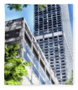 Chicago Water Tower Place Facade And Signage Fleece Blanket