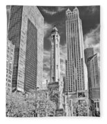Chicago Water Tower Shopping Black And White Fleece Blanket
