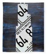 Chicago Windy City Harris Sears Tower License Plate Art Fleece Blanket