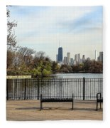 Chicago With Benches Fleece Blanket