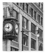 Chicago's Father Time Clock Bw Fleece Blanket