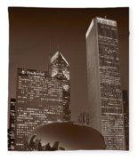 Chicagos Millennium Park Bw Fleece Blanket