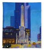Chicago's Water Tower At Dusk Fleece Blanket