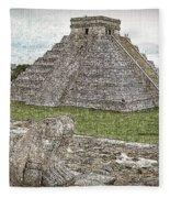 Chichen Itza Draw-like Fleece Blanket