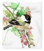 Chickadee And Spring Blossom Fleece Blanket