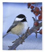 Chickadee With Craquelure Fleece Blanket