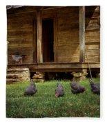 Chickens - Log House - Farm Fleece Blanket