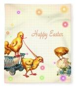 Chicks And Eggs - Happy Easter Fleece Blanket