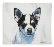 Chihuahua Black Spots With White Fleece Blanket