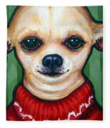 Chihuahua In Red Sweater - Boss Dog Fleece Blanket