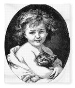 Child & Pet, 19th Century Fleece Blanket