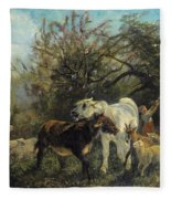 Child And Sheep In The Country Fleece Blanket