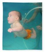 Child Swims Underwater  Fleece Blanket
