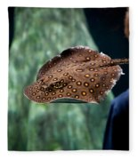 Child Watching Spotted Ray Fish Fleece Blanket