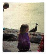 Children At The Pond 1 Fleece Blanket