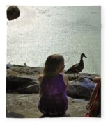 Children At The Pond 1 Version 2 Fleece Blanket