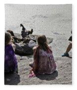 Children At The Pond 2 Fleece Blanket